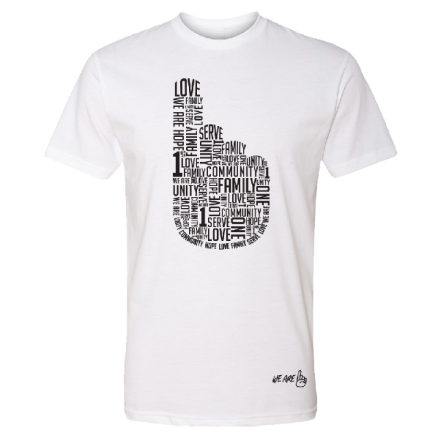 We Are One Adult White Tee- 1 Hand Tee